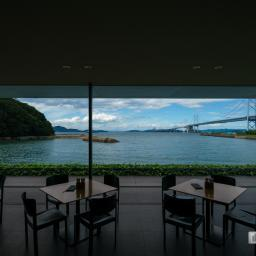 Cafe space of Kagawa Prefectural Higashiyama Kaii Setouchi Art Museum (東山魁夷せとうち美術館)