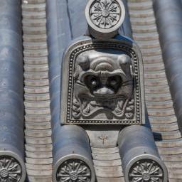 Onigawara of roof in Nishiarai-Taishi Shrine (西新井大師)