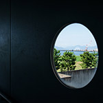 Circle window in passage, visitor of Hiroshima Environment Bureau, Naka Incineration Plant (広島市環境局 中工場)