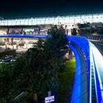 Gifu Station, north plaza on footbridge (岐阜駅北口駅前広場)
