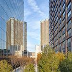 Green area between buildings (ビル間の緑)
