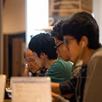 Studying guys in TOYAMA City Library (富山市立図書館)