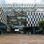 The facade of Nagaoka City Hall Aore (アオーレ長岡)