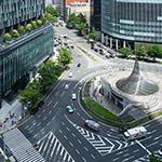 Traffic circle in front of Dai Nagoya Building (大名古屋ビルヂング)
