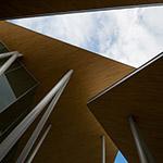 Upward view of Okayama University, Junko Fukutake Hall (岡山大学 Junko Fukutake Hall)